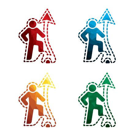 Colorful progressive man icons on white background. isolated advance leader icons. eps8.