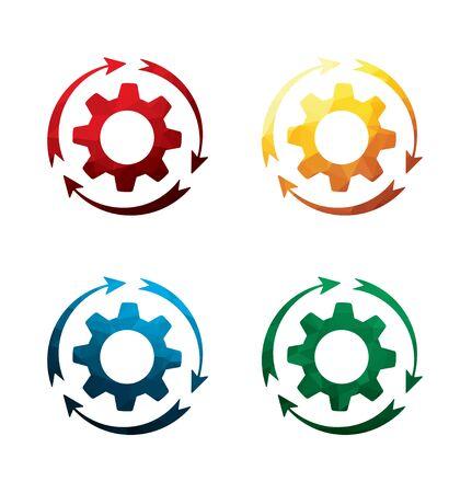 rackwheel: Colorful rotating cogwheel icons on white background. isolated rotating gear icons. eps8.