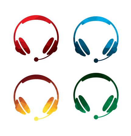 Colorful headphones icons on white background. isolated earphones icons. eps8.