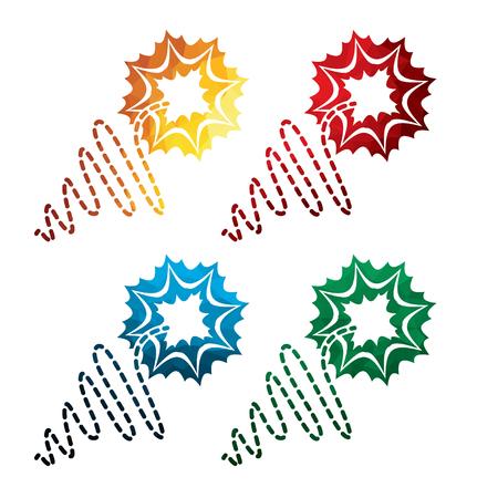 colorful fuze icons on white background. isolated candlewick icons. eps8.