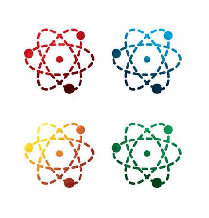 Colorful atom icons on white background. isolated atom icons. eps8. Illustration