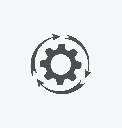白い背景の上の単純な歯車アイコン。eps8。  イラスト・ベクター素材
