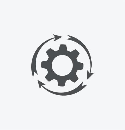 흰색 배경에 간단한 cogwheel 아이콘입니다. eps8. 일러스트