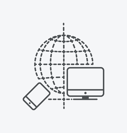 Simple devices connection icon on white background. Simple devices connection icon. eps8.