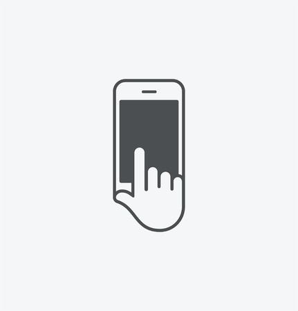 Simple smart phone in hand icon on white background. Simple smart phone in hand icon. eps8.