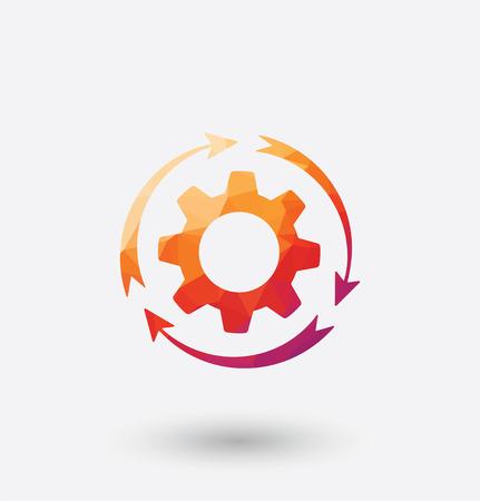 rackwheel: Colored rotating cogwheel icon on white background. Illustration