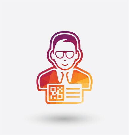 Colored man with QR code pass icon on white background.