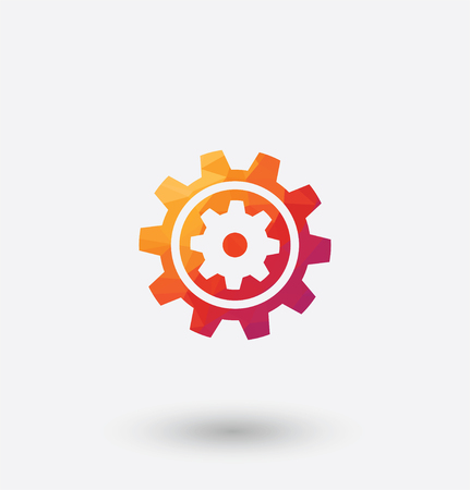 rackwheel: colored gear icon on white background. Illustration