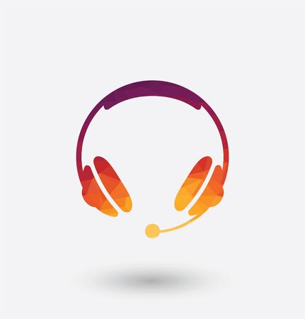 colored headphones icon on white background.