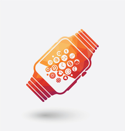 Colored smart watch icon on white background. Illustration