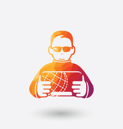Colored hacker icon on white background.