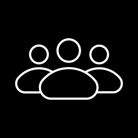 multiple personality: People line icon, persons outline and solid vector illustration, group isolated on black.