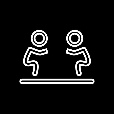 Fight icon isolated. Human silhouettes fighting on black background.