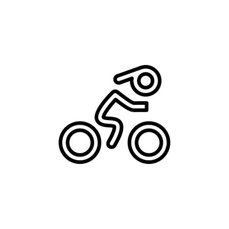 recreational pursuit: Cyclist icon. Simple flat logo of cyclist on white background. Silhouette of a cyclist. Vector illustration. Illustration