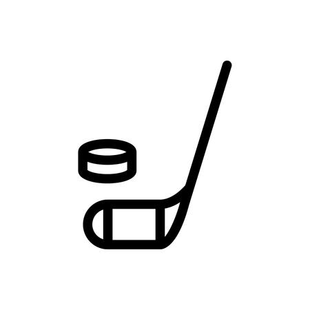 hockey stick and puck icon. Simple filled hockey stick and puck vector icon. On white background.