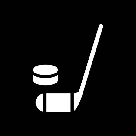 rightwing: hockey stick and puck icon. Simple filled hockey stick and puck vector icon. On black background.