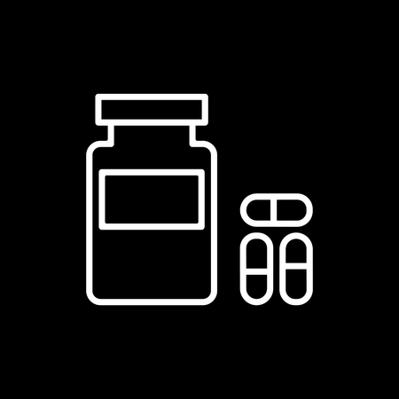 doctor tablet: Pills, capsules and medicine bottle Icon in trendy flat style isolated on black background. UI. Vector illustration.