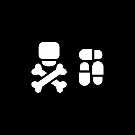 overdose: Dangerous pills vector icon. . Eps 10