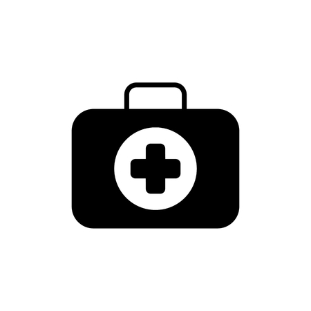 solid: First Aid Kit Symbol and Medical Services Icon. Flat Design. Isolated.