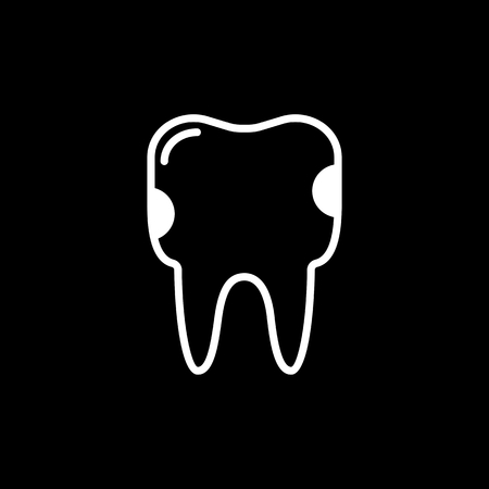 crumbling: Tooth caries vector line icon isolated on black background. Tooth caries line icon for infographic, website or app.