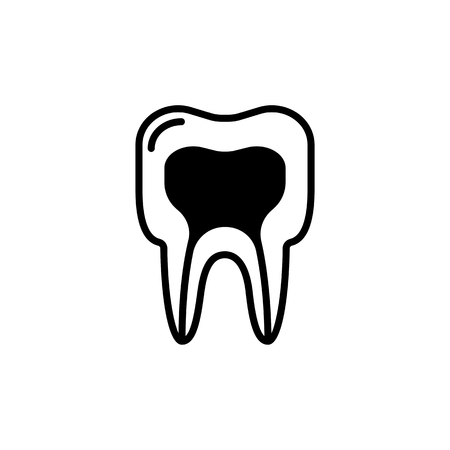 medical structure of the tooth icon. vector line illustration