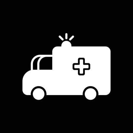 auto service: Ambulance car vector icon. First aid medicines. Illustration