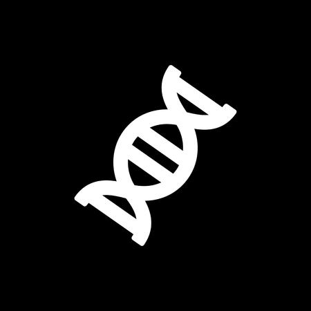 DNK 벡터 아이콘입니다. 검은 배경에 플랫 디자인입니다.