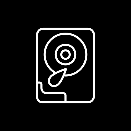 hard drive: Hard disk line icon. Isolated on black background.