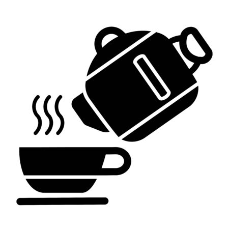 Kettle Pouring Water into Cup Vector Icon