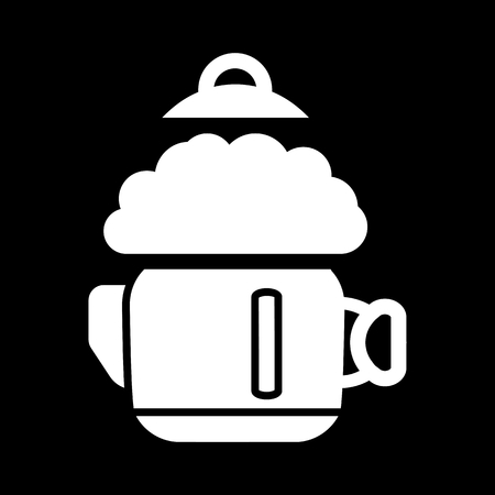 A boiling kettle and steam. on a black background