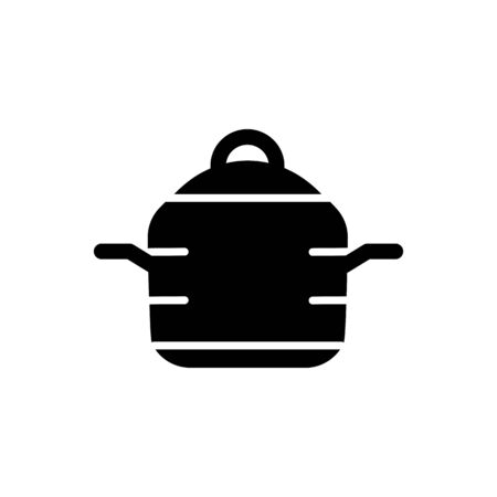 steam cooker: Web line icon. Pan, saucepan vector isolated on white.