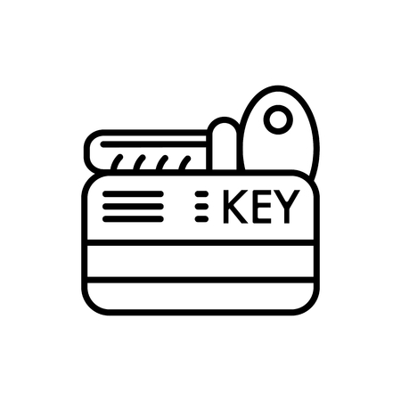hotel chain: Hotel key vector icon. Isolated on white. Outline style.