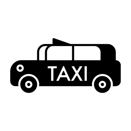 Taxi car vector icon. Solid design on white background. Illustration