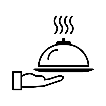 Restaurant cloche in hand the waiter icon flat. Illustration isolated on white background.