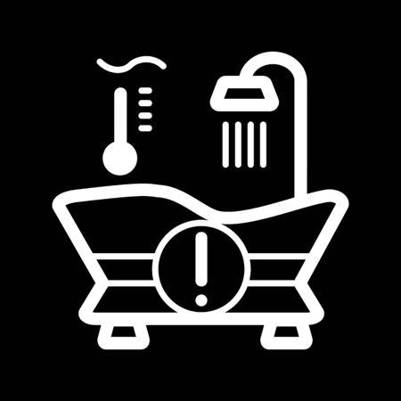 temp: The warm water temperature icon. Bath symbol. Line Vector illustration