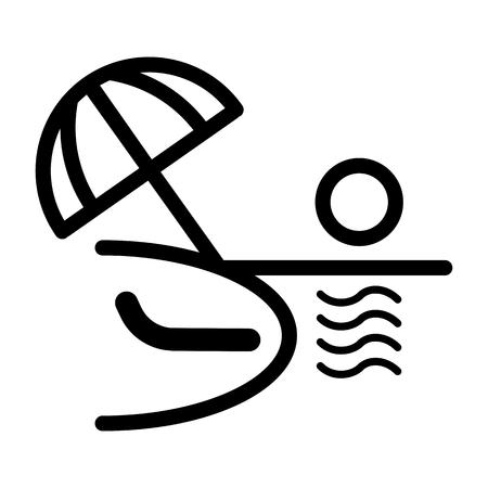 Ocean or sea beach, vector. Black and white vector illustration of sea shore with umbrella, chaise longue.