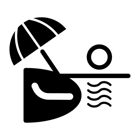 recliner: Ocean or sea beach, vector. Black and white vector illustration of sea shore with umbrella, chaise longue.