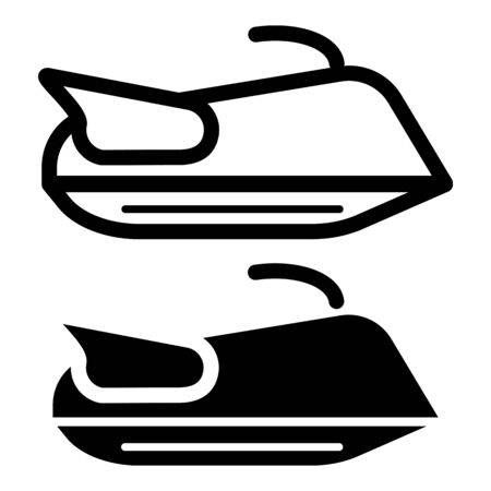 motorboat: Water scooter icon outline contour vector isolated on white background Illustration