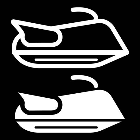 outboard: Water scooter icon outline contour vector isolated on black background.
