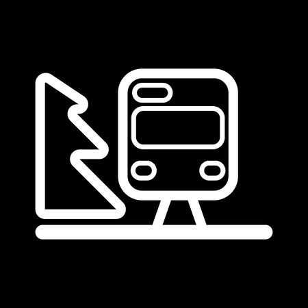 high speed train: Train outline vector. Isolated on black.