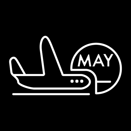 Avia tour on may holidays . Vector icon isolated. Illustration