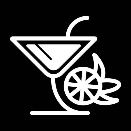 Verre vecteur icône symbole noir ou logo. Verre Martinka avec cocktail. Banque d'images - 77840992