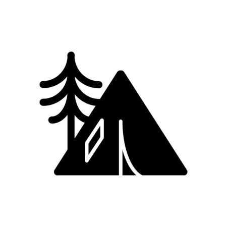 hiking: Camping tent icon solid vector contour isolated on white background