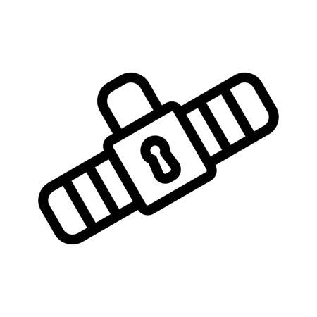 cinturon seguridad: Safety belt icon. Outline Black pictogram on white background. Vector illustration symbol and bonus button closed lock. Vectores