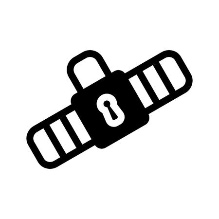 cinturon seguridad: Icono del cinturón de seguridad Pictograma negro sólido sobre fondo blanco. Símbolo de ilustración vectorial y botón de bonificación cerradura cerrada.