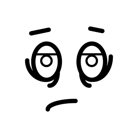 disapprove: Sad, tired smiley face emoticon line art icon for apps and websites. Illustration