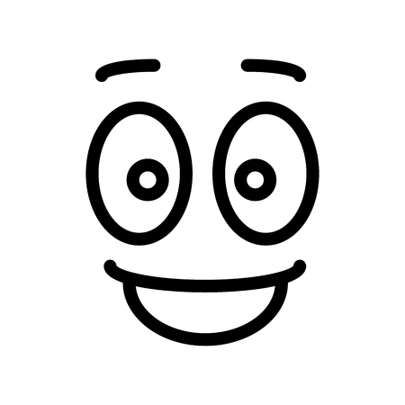 joyous life: Satisfied glad smiley face emoticon line art icon for apps and websites.