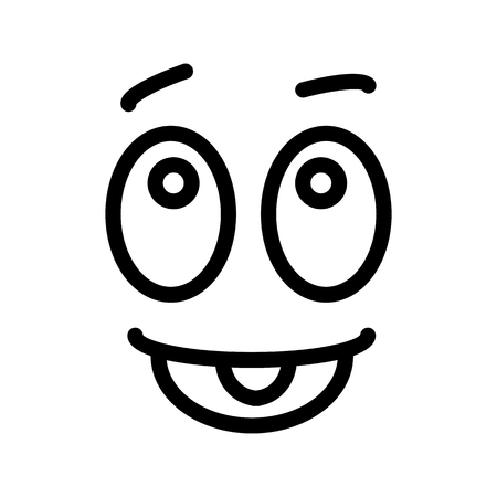 satisfied glad smiley face emoticon line art icon for apps and websites.