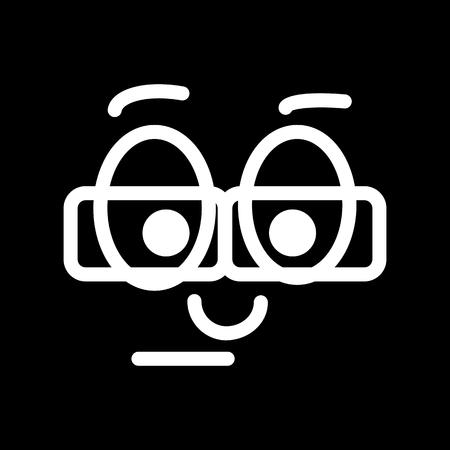 Nerd emoticon. vector smiley. Illustration