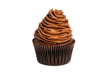 Chocolade zoete cupcake op een witte achtergrond.